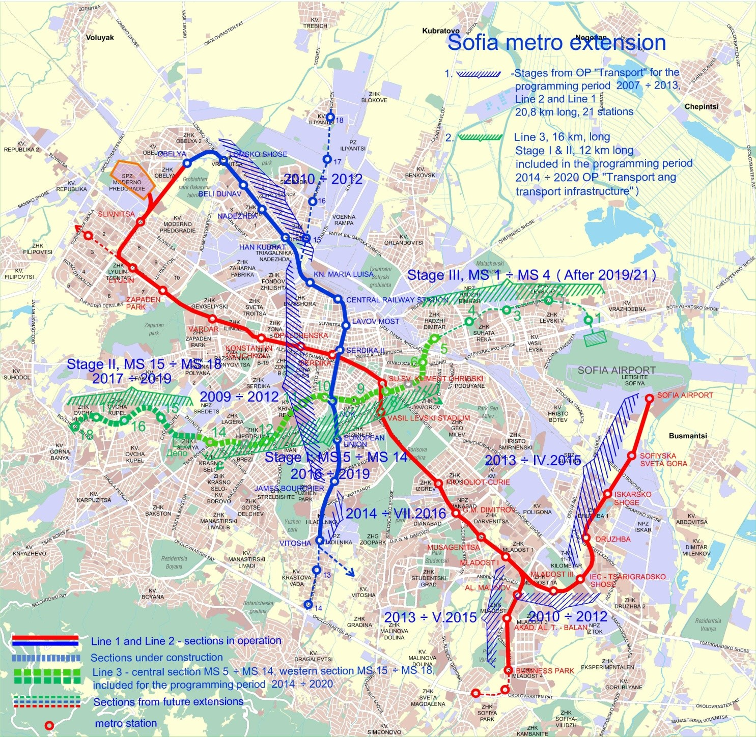 Sofia Subway Map.Stage 1 Metropolitan Sofia