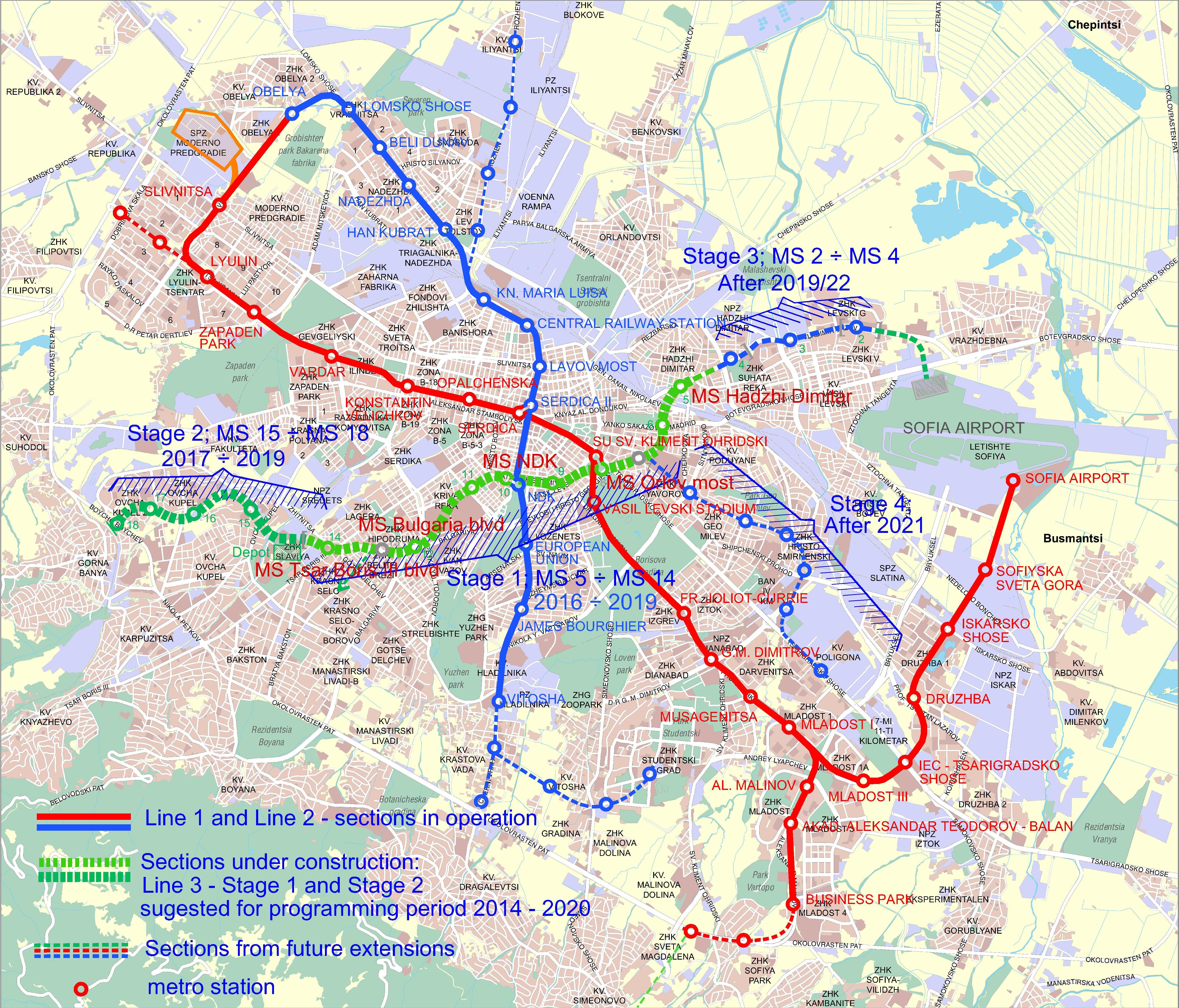 Sofia Subway Map.General Scheme Metropolitan Sofia